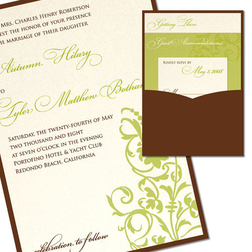 DIY, Stationery, green, brown, Invitations