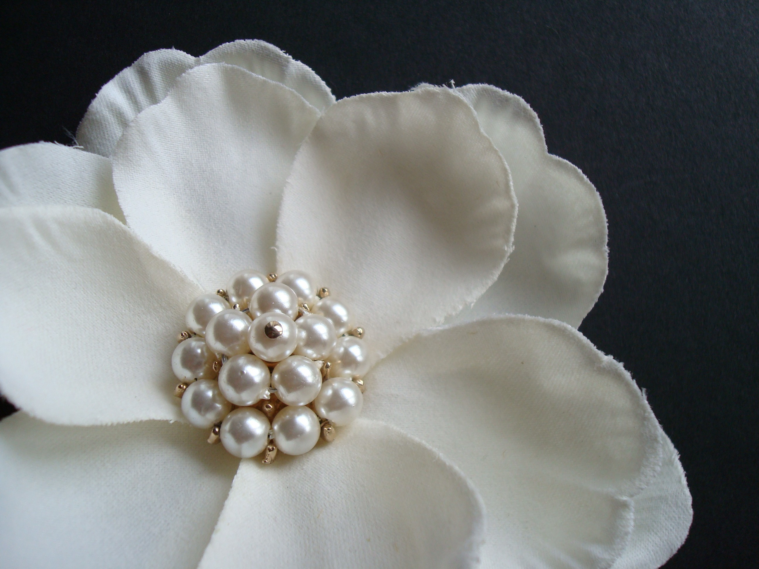 Beauty, Flowers & Decor, ivory, Vintage, Flower, Hair, Pearl, Fascinator, Pin, Clip, Magnolia, Brass paperclip