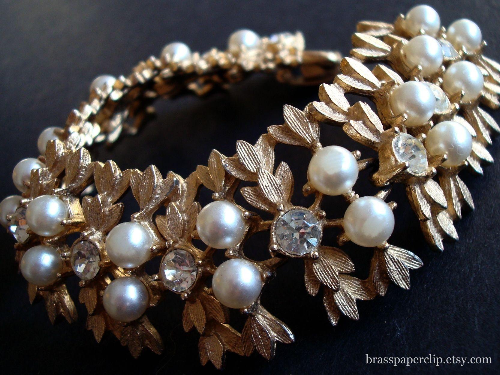 Jewelry, Bracelets, Vintage, Bracelet, Rhinestone, Pearl, Sarah, Brass paperclip, Paperclip, Brass, Coventry