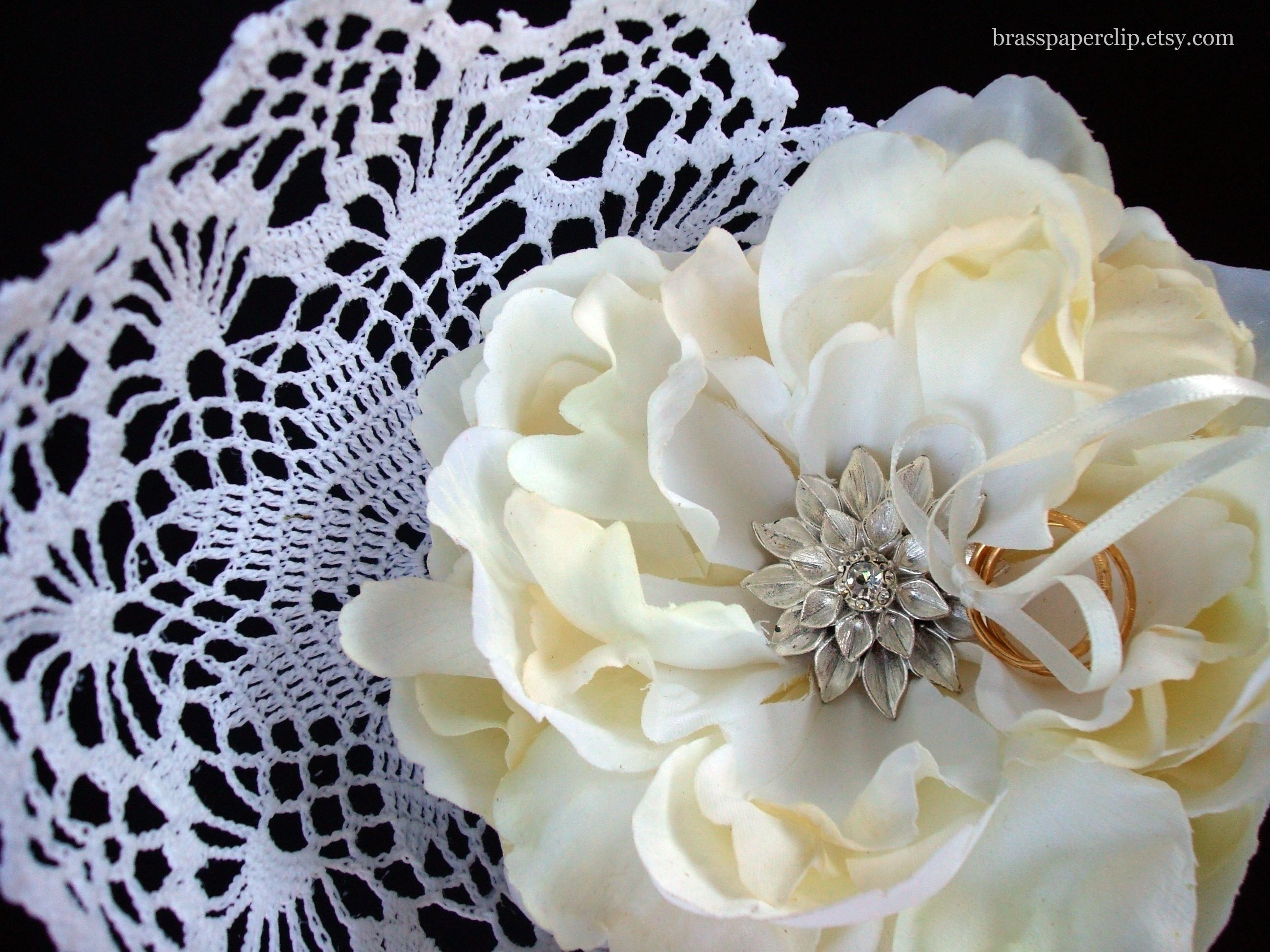 Ceremony, Flowers & Decor, Jewelry, Cushion Cut Engagement Ring, Vintage, Ring, Of, Unique, Basket, Pillow, Bearer, A, Cushion, Peony, One, Kind, Convertible, Pin, Brass paperclip, Paperclip, Brass, Doily