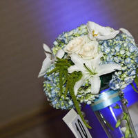 Reception, Flowers & Decor, blue, Centerpieces, Roses, Flower, Centerpiece, Vase, Tall, Hanging, Crystal, Hydrangea, Whtie, In flower