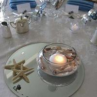Beach, Centerpiece, Wedding, Seashells, Mirrors, Fd weddings