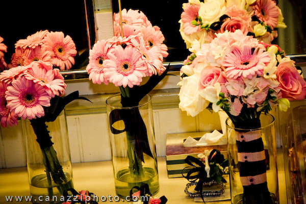 Flowers & Decor, pink, black, Bride Bouquets, Bridesmaid Bouquets, Flowers, Bouquet, Bridesmaid, Bridal, Bouquets, Daisies, Gerbera, Designs by courtney