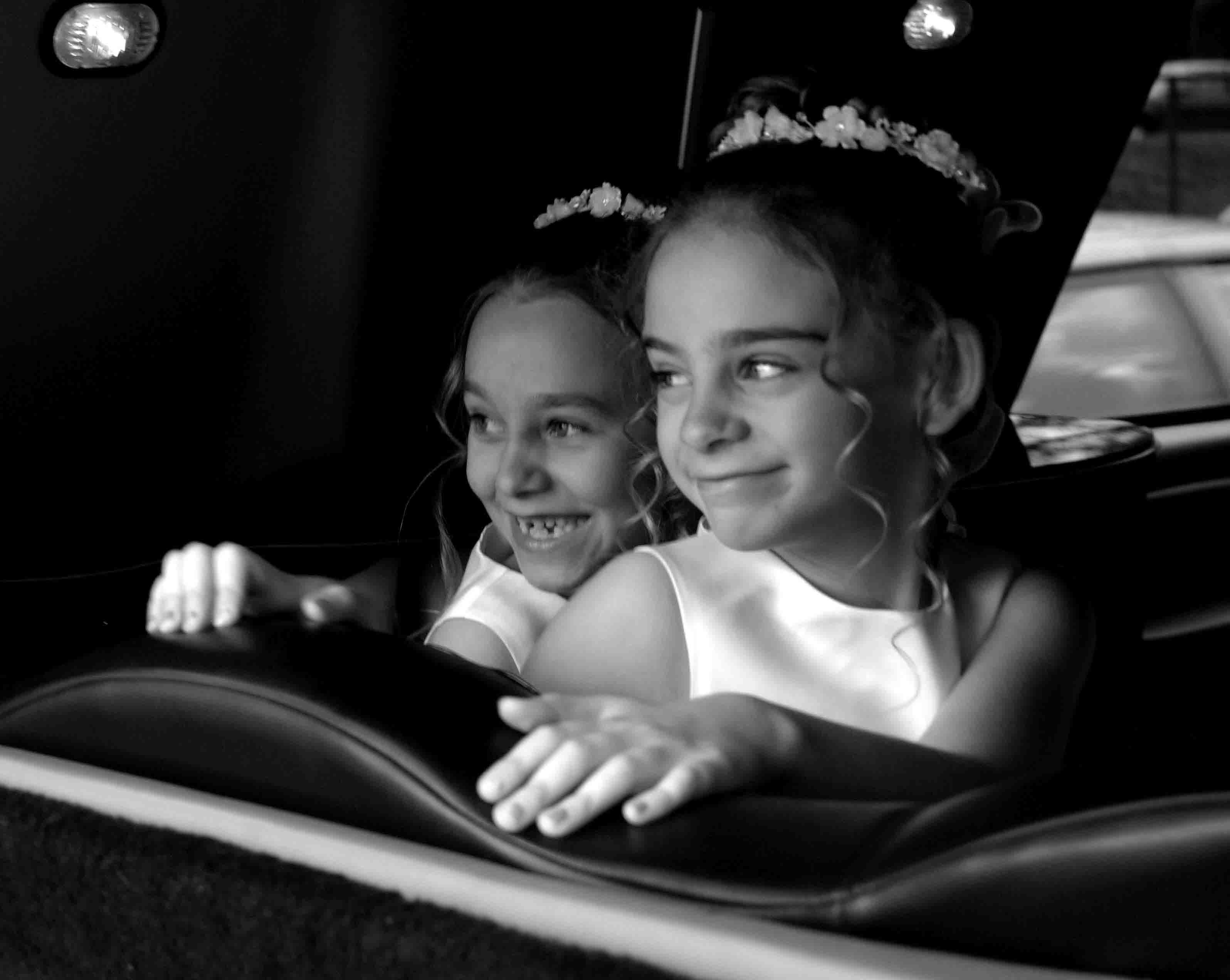 Flowers & Decor, white, black, Flower, Girl, Girls, And, Limo, Zenobia photography studios