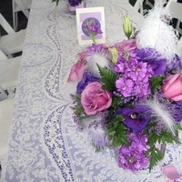 Beauty, white, purple, Feathers, Centerpiece, Lavender