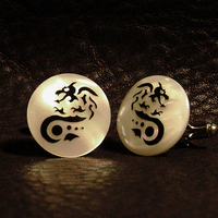 Groomsmen, Groom, Wedding, Of, Mother, Pearl, Cufflinks, Cuff, Links, The cuft lynx, Dragon, Medieval