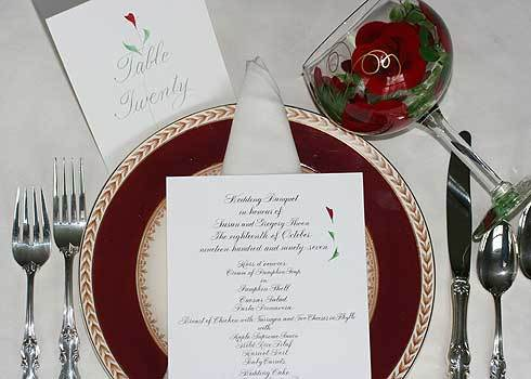 Calligraphy, Menu, Glassware, Table, Hand, Numbers, Artful celebrations, Painted