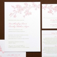 Stationery, pink, green, invitation, Invitations, Blossom, Cherry, Letterpress, Papeterie