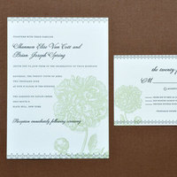 Stationery, green, black, invitation, Invitations, Letterpress, Peony, Papeterie