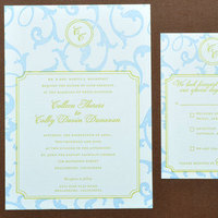 Stationery, blue, green, Invitations, Letterpress, Papeterie