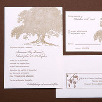 Stationery, brown, gold, invitation, Invitations, Tree, Oak, Papeterie, Letterpres