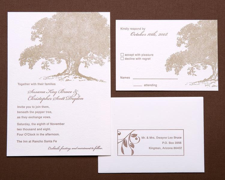 Stationery, brown, gold, invitation, Invitations, Tree, Oak, Papeterie, Letterpres