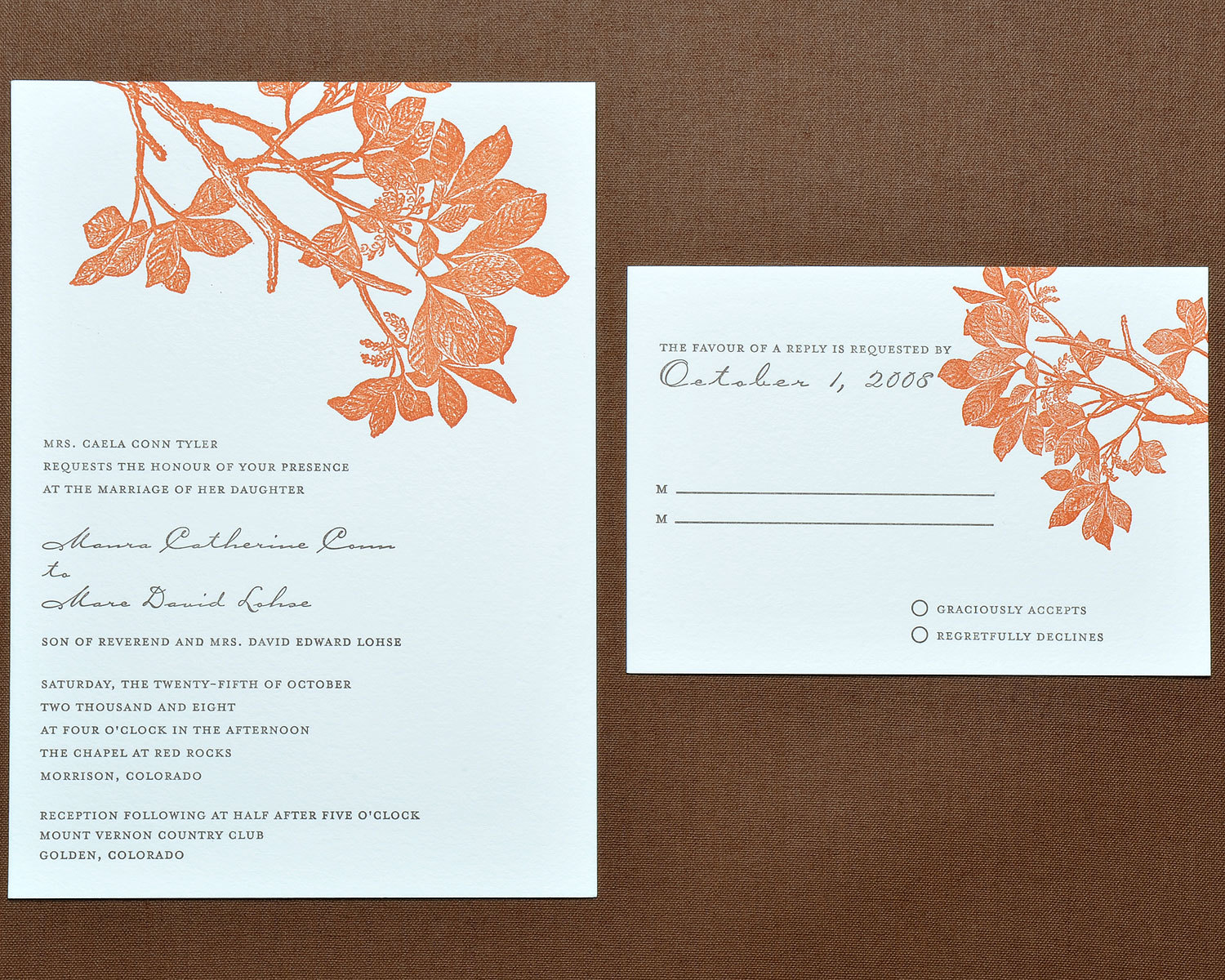 Stationery, orange, brown, invitation, Fall, Invitations, Letterpress, Papeterie