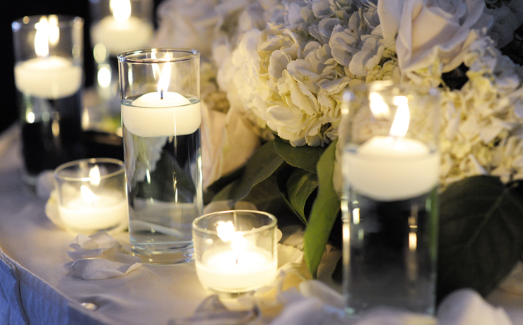 Flowers & Decor, brown, Centerpieces, Flowers, Roses, Centerpiece, Romantic, Candle, Teal, Cream, Hydrangeas, Contemporary