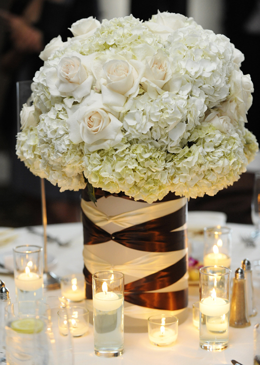 Flowers & Decor, brown, Centerpieces, Flowers, Roses, Centerpiece, Romantic, Teal, Cream, Hydrangeas, Contemporary