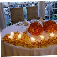 Reception, Flowers & Decor, orange, Bride, Candles, Roses, Groom, Table, And