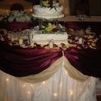 Reception, Flowers & Decor, Cakes, burgundy, cake, Wedding, Table, Rose, Petals, Twinkle lights, Nes weddings