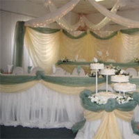 Reception, Flowers & Decor, Cakes, cake, Wedding, Table, Banquet, Head, Hall, Lights, Backdrop, Ceiling, Swags, Nes weddings