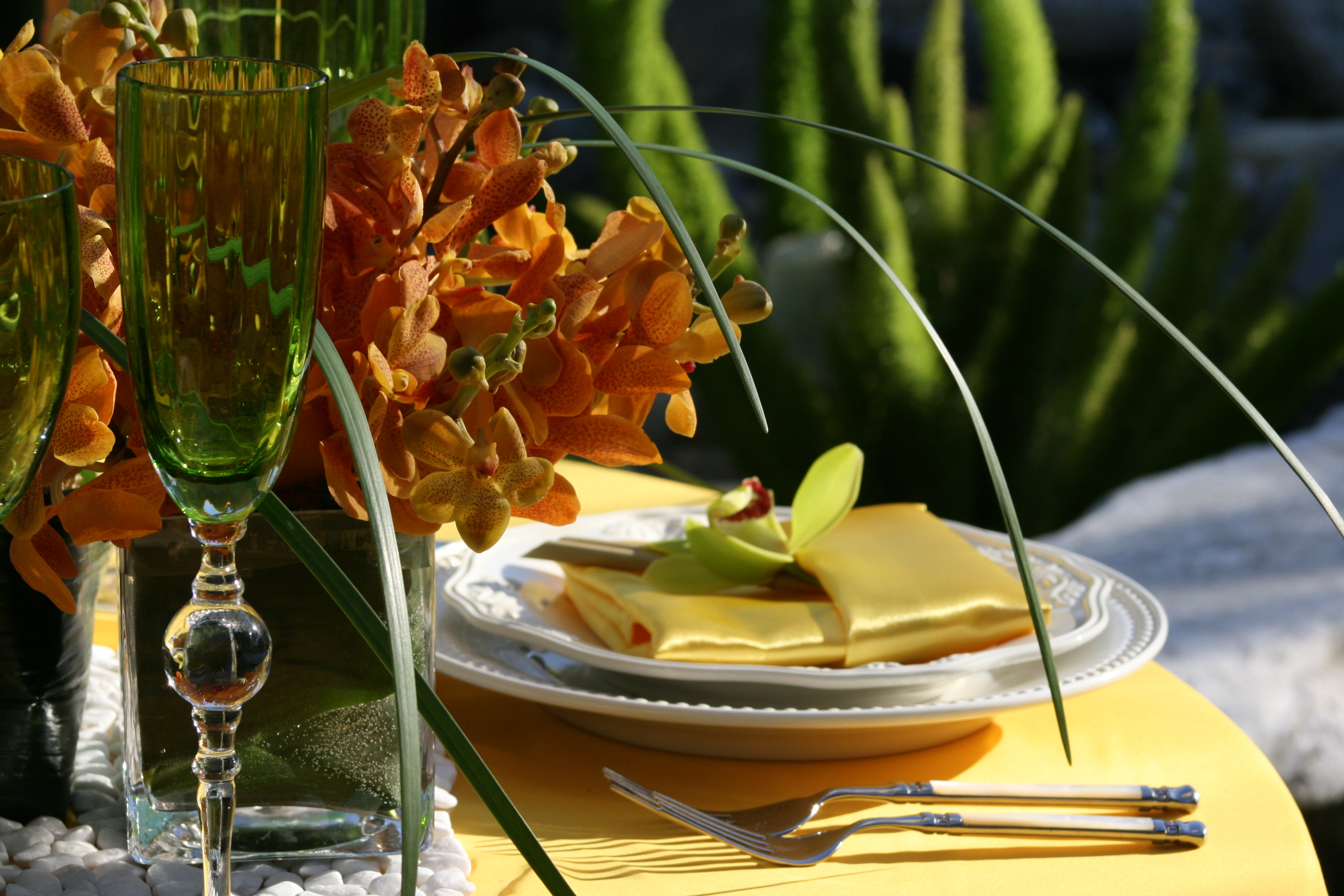 yellow, orange, Centerpiece, Linens