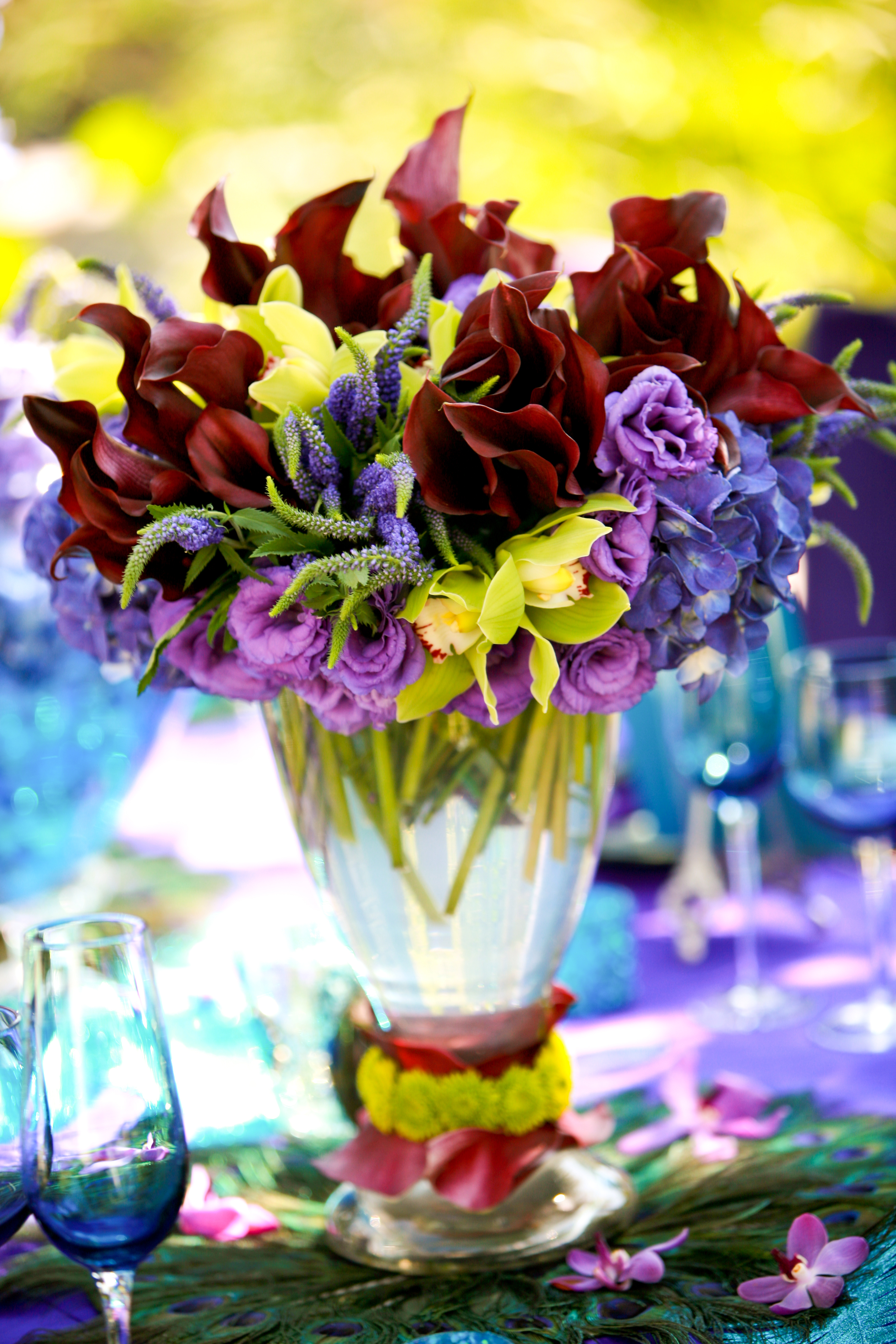 purple, green, Centerpiece