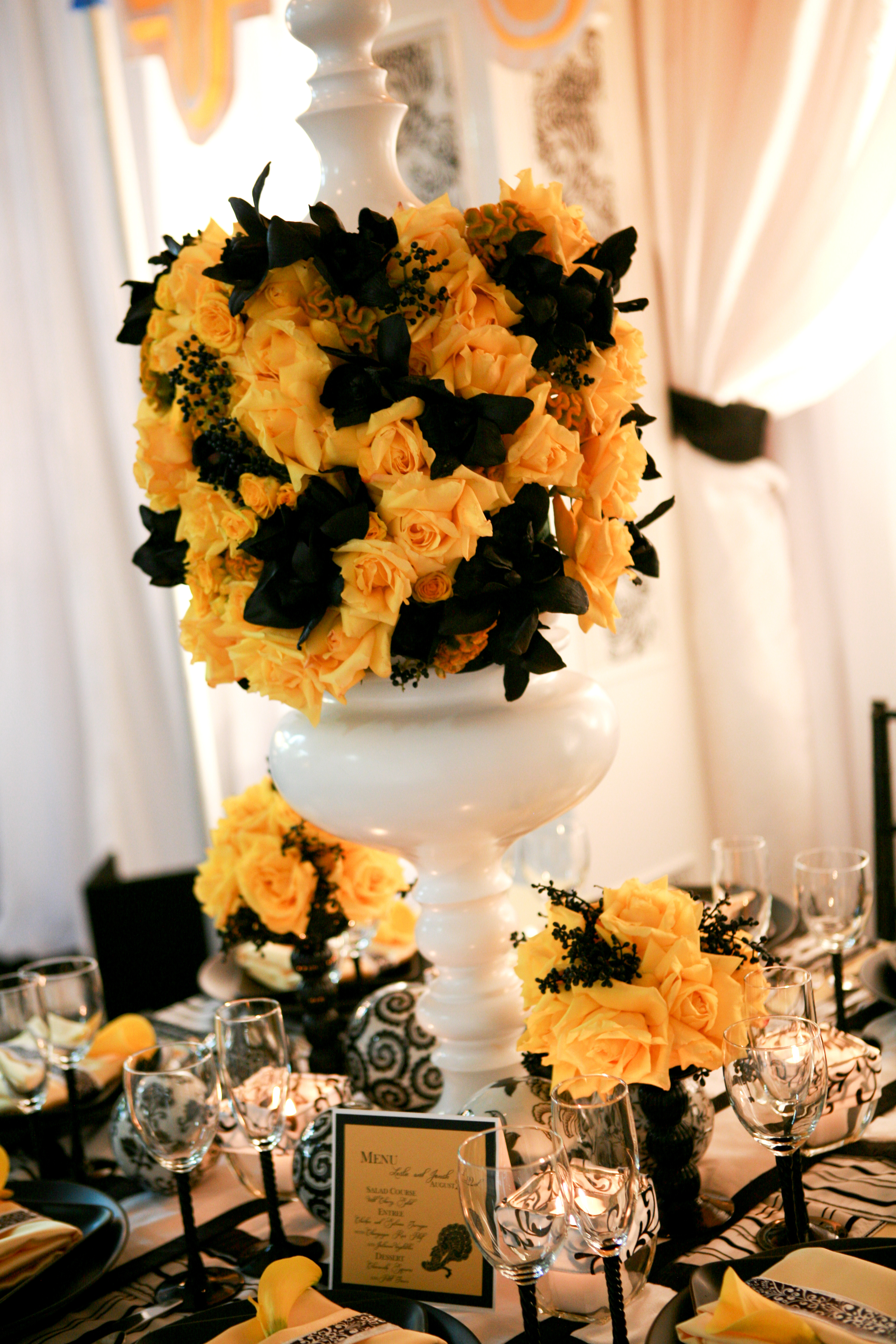 yellow, black, Vintage Wedding Flowers & Decor