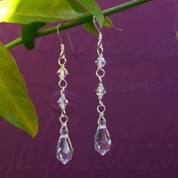 Jewelry, silver, Earrings, Accessories, Wedding, Bridesmaid, Bridal, Crystal, Weddings, Swarovski, Teardrop, Earring, Sterling, Handmade by diana