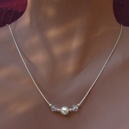 Jewelry, white, silver, Necklaces, Bride, Accessories, Bridesmaid, Bridal, Crystal, Necklace, Weddings, Swarovski, Pearl, Sterling, Handmade by diana, Chain