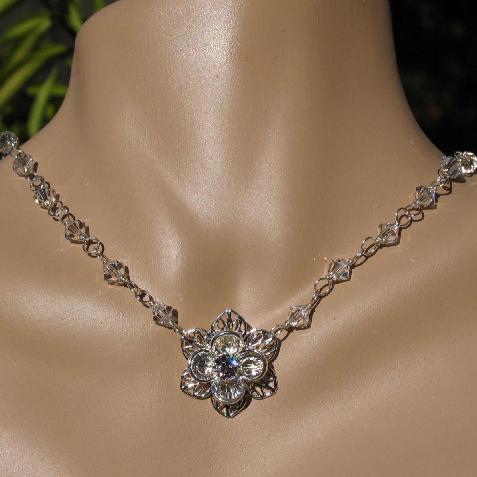 Flowers & Decor, Jewelry, silver, Necklaces, Bride, Accessories, Flower, Bridesmaid, Bridal, Crystal, Necklace, Weddings, Swarovski, Formal, Filigree, Sterling, Handmade by diana