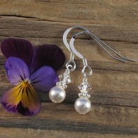 Jewelry, white, silver, Earrings, Bride, Accessories, Bridesmaid, Crystal, Weddings, Swarovski, Formal, Earring, Pearl, Sterling, Handmade by diana