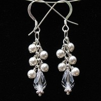 Jewelry, white, Earrings, Bride, Accessories, Bridesmaid, Bridal, Crystal, Weddings, Swarovski, Formal, Earring, Pearl, Dangle, Handmade by diana
