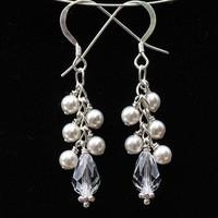 Jewelry, white, Earrings, Bride, Accessories, Bridesmaid, Bridal, Crystal, Weddings, Swarovski, Formal, Earring, Pearl, Dangle, Handmade by diana