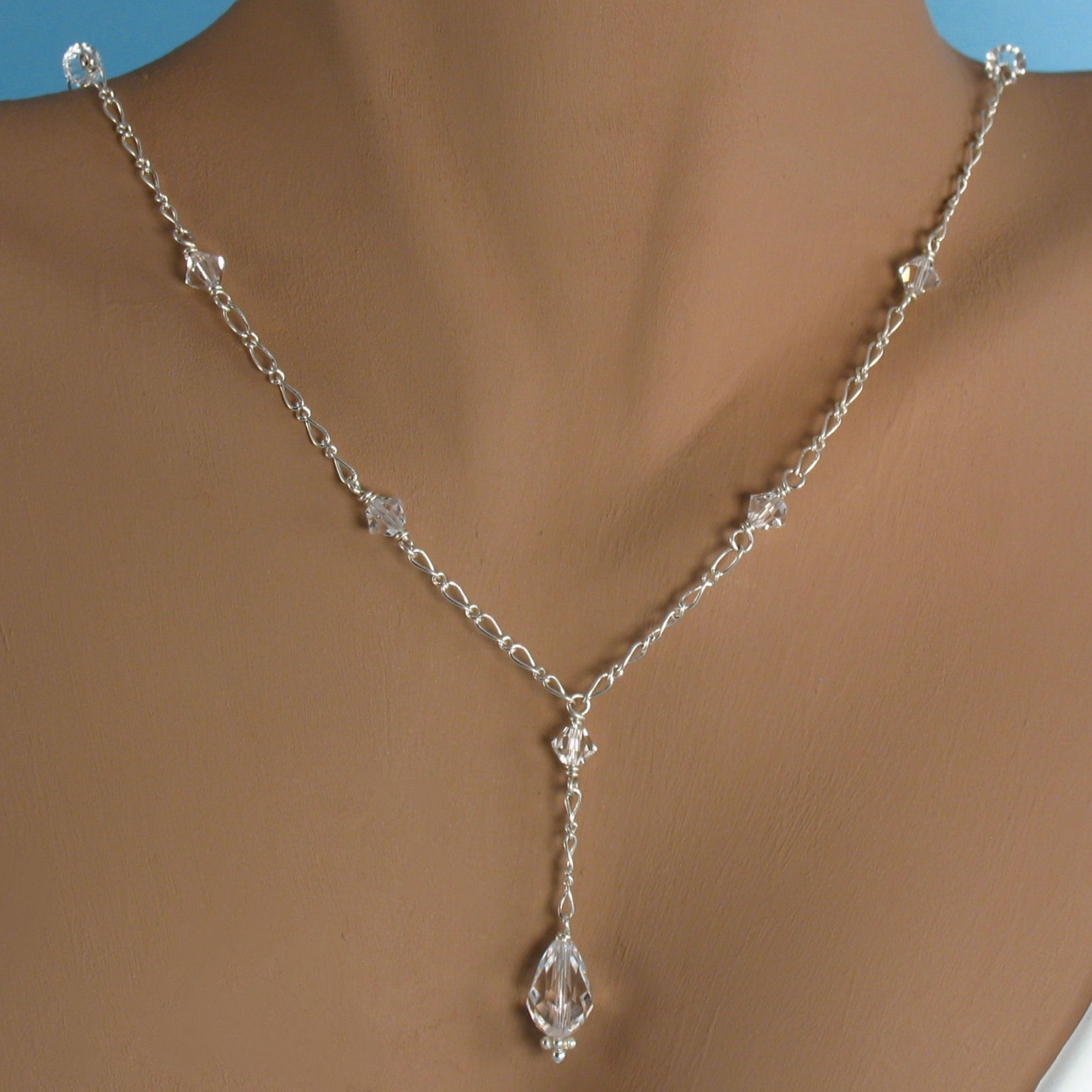 Jewelry, silver, Necklaces, Bride, Accessories, Bridesmaid, Bridal, Crystal, Necklace, Weddings, Swarovski, Teardrop, Sterling, Handmade by diana, Chain
