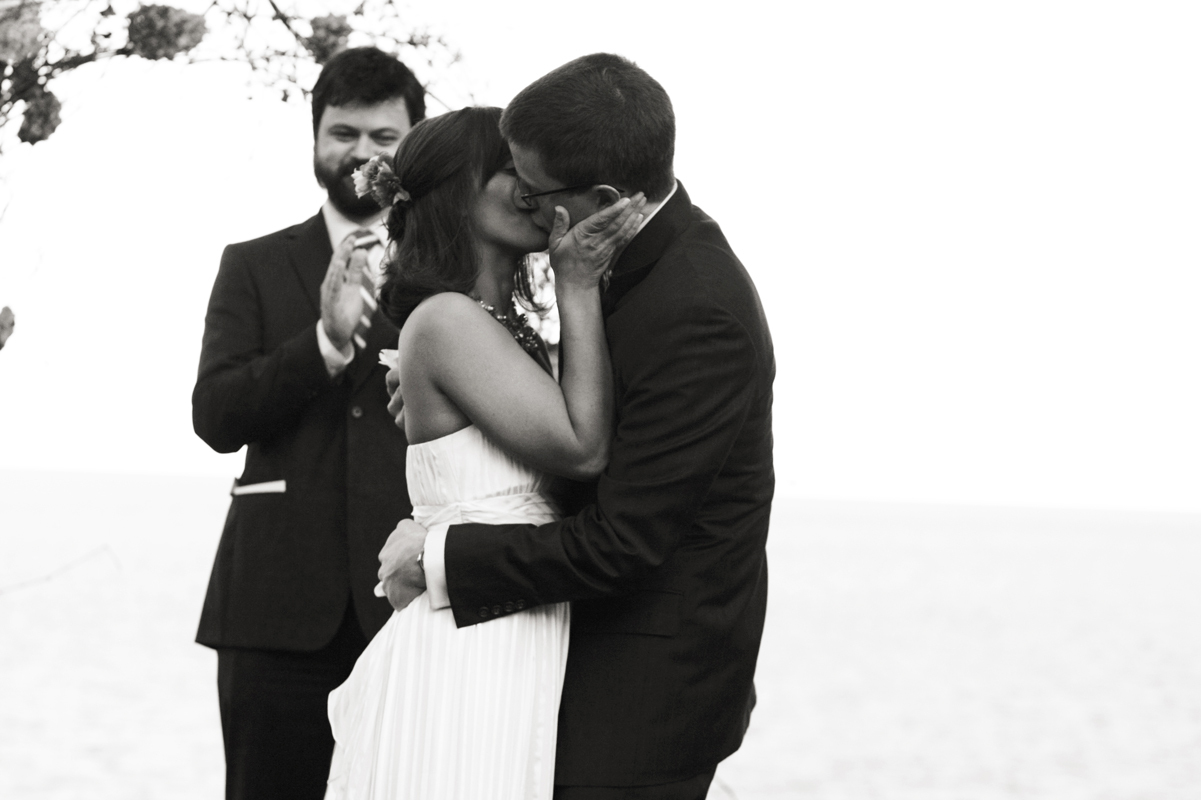 Ceremony, Flowers & Decor, Bride, Groom, Wedding, Kiss, Lake, Michigan, Outside, Ryan timm photography