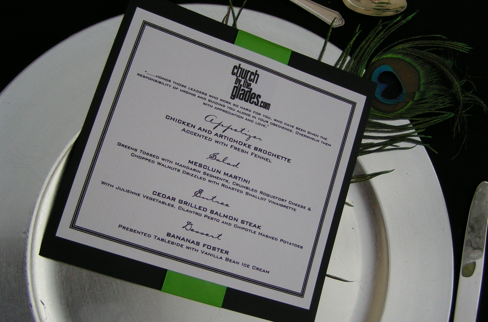 Beauty, Flowers & Decor, Decor, white, green, black, silver, Feathers, Menu, Detail, Events, Card, Productions, Setting, Feather, Markei, Menucard