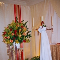 Ceremony, Flowers & Decor, Decor, ivory, red, Ceremony Flowers, Centerpieces, Flowers, Centerpiece, Candle, Events, Unity, Productions, Altar, Markei, Drapes