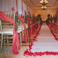 Ceremony, Flowers & Decor, Decor, red, gold, Chiavari, Petals, Aisle, Runner, Chapel, Markei events productions, Chairtie, Aislemarker