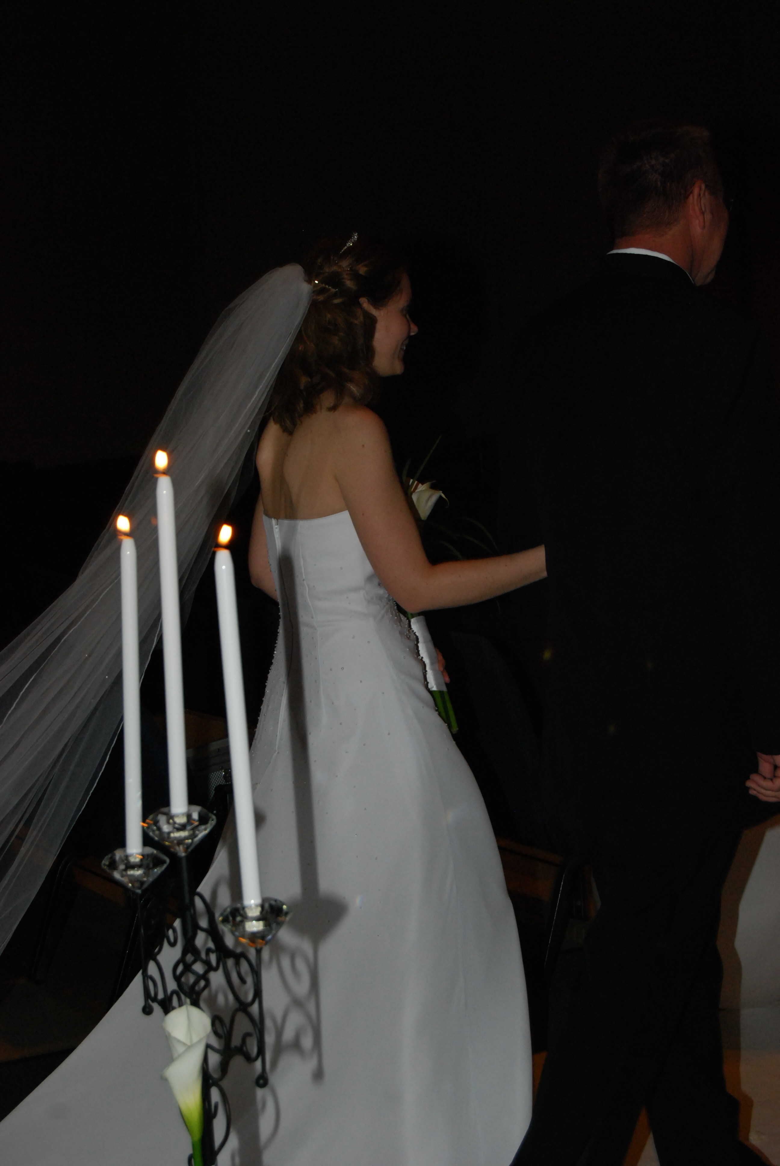 Ceremony, Flowers & Decor, Decor, white, black, Aisle, Candleabra, Tapers