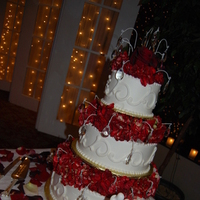Reception, Flowers & Decor, Decor, Cakes, red, cake, Candles, Roses, Petals, Hydrangeas, Crystals, Markei events productions