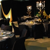 Reception, Flowers & Decor, Decor, yellow, black, Centerpieces, Lighting, Flowers, Centerpiece, Orchids, Crystal, Cymbidium, Manzanita, Trees, Chandeliers, Markei events productions