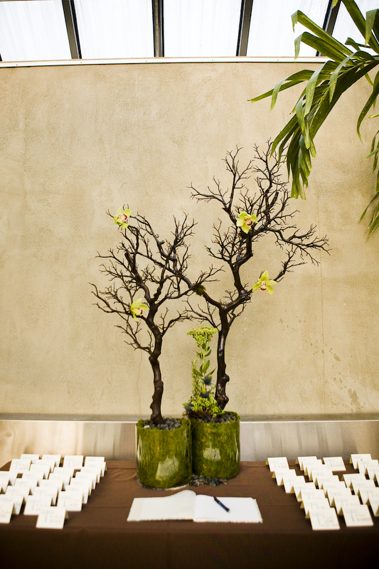 green, brown, Modern Wedding Flowers & Decor