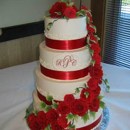 Cakes, ivory, red, cake, Roses