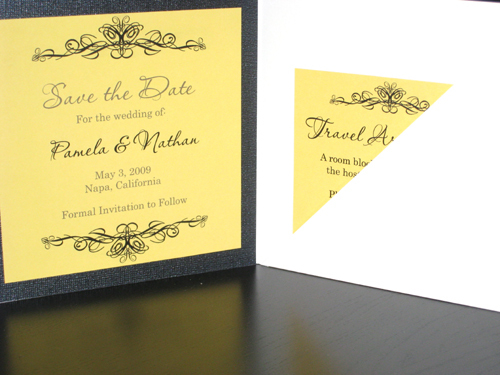 Stationery, yellow, Invitations, Wedding, Scroll, The, Pocketfold, Save, Date, The stylish scribe, Ornamental