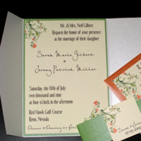Flowers & Decor, Stationery, orange, green, Spring, Summer, Garden Wedding Invitations, Invitations, Flowers, Wedding, Custom, Pocketfold, The stylish scribe
