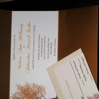 Stationery, invitation, Fall, Invitations, Wedding, Tree, Pocketfold, Copper, Metallic, The stylish scribe