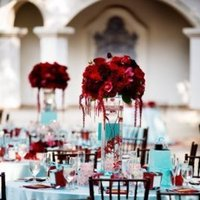 red, blue, Centerpieces, Teal