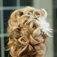 Beauty, Updo, Curly Hair, Feathers, Comb