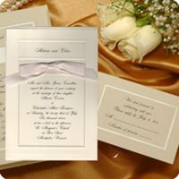 Stationery, invitation, Classic Wedding Invitations, Invitations, Wedding, And, Bow, Los, Angeles, Pearl, Border