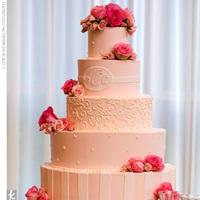 Cakes, pink, cake, Monogrammed Wedding Cakes, Monogram