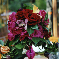 red, purple, Summer Wedding Flowers & Decor