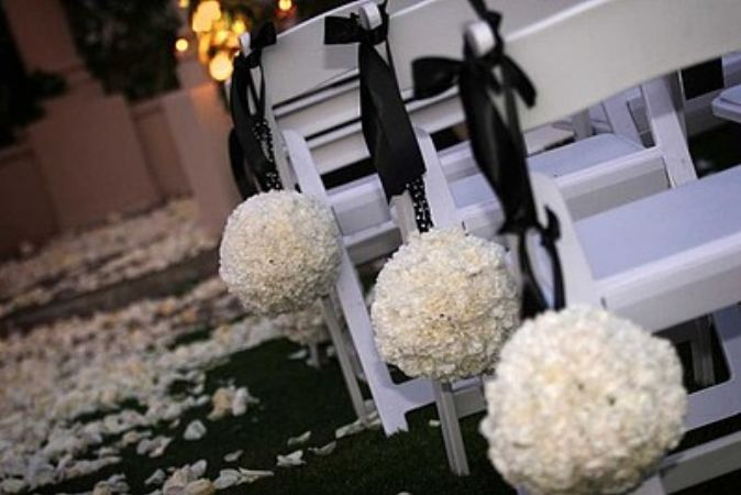 Ceremony, Flowers & Decor, white, black, Flower, And, Rose, Chair, Petals, An elegant occasion, Padded